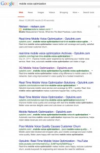 "Optulink dominates the page 1 of a Google search on ""mobile voice optimization."""