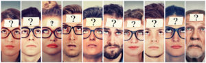 Several people with question marks on their foreheads.