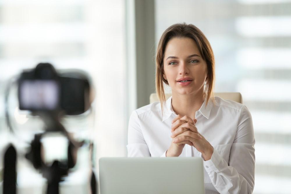 Virtual presentation - Woman conducting a dry run on camera before giving a virtual presentation.