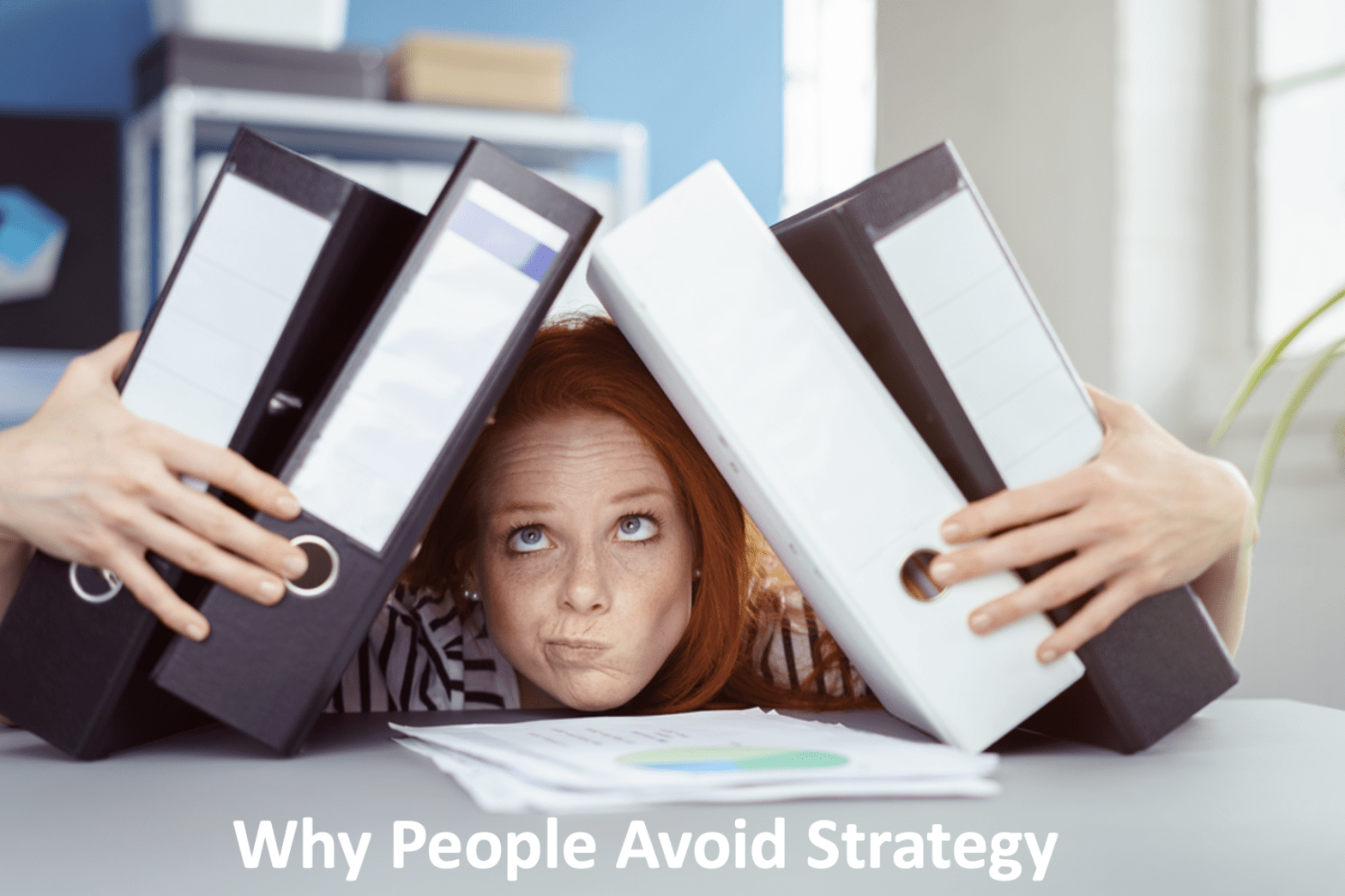 how to start a content strategy - Woman weighed down by 4 3-inch binders on her head