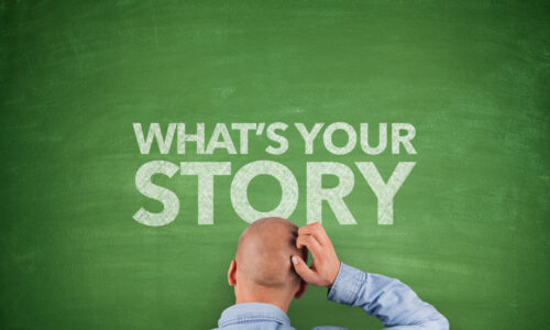 """What is the best way to tell a corporate story with different business units? Man scratching his head in front of chalkboard that says """"what's your story?"""""""