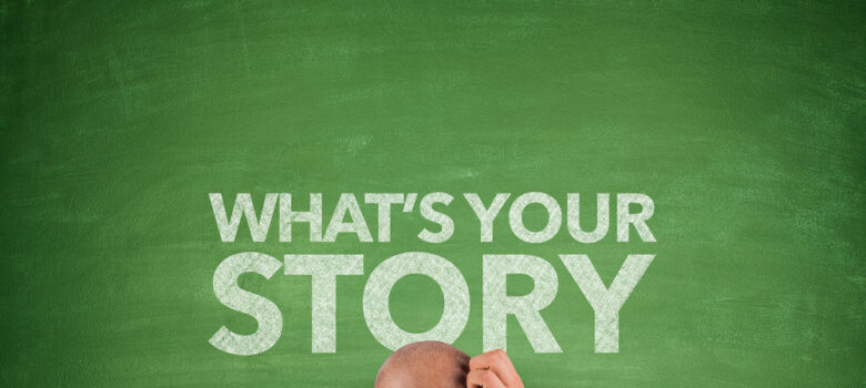 "What is the best way to tell a corporate story with different business units? Man scratching his head in front of chalkboard that says ""what's your story?"""