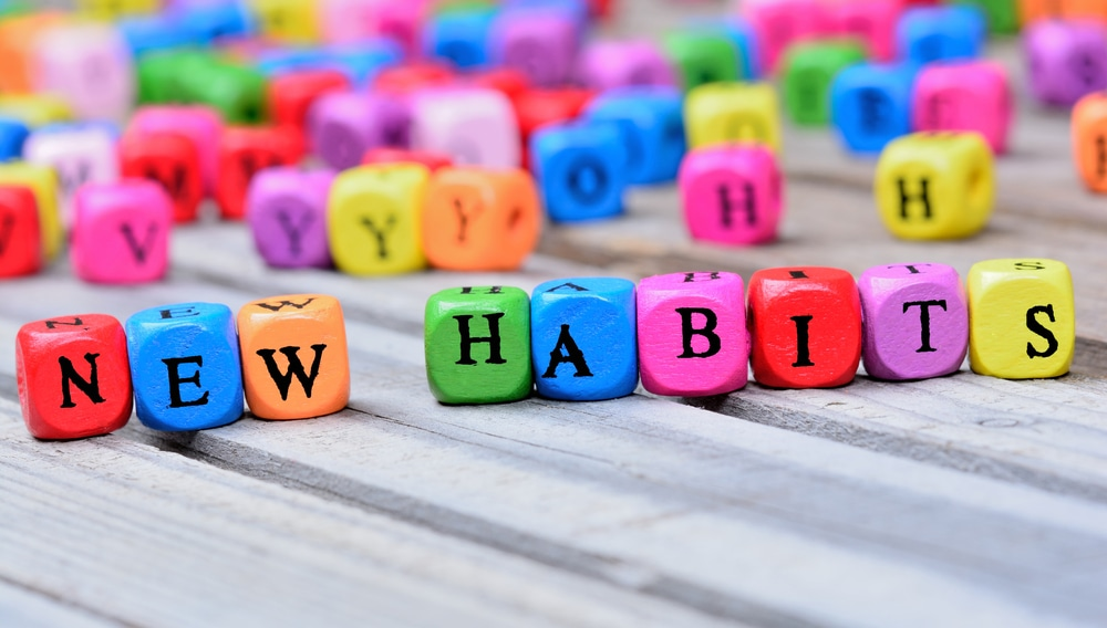 """Colored blocks spelling out """"new habits"""""""