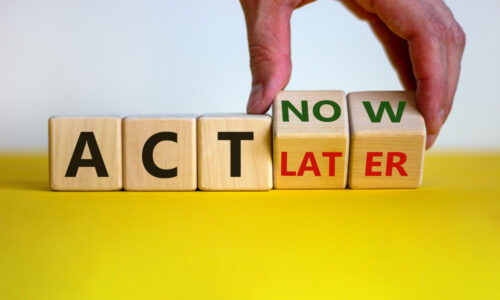 building blocks with Act now/later - Awareness to action