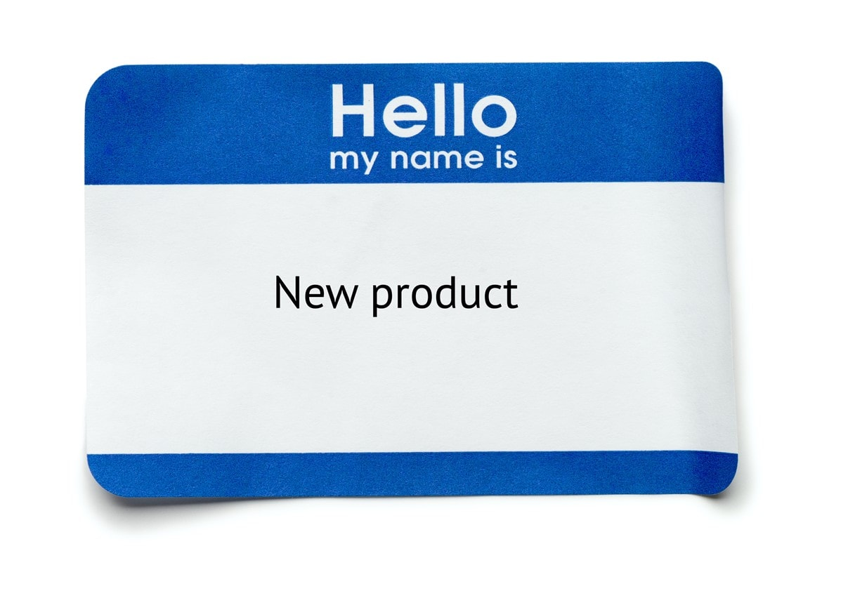 """naming a new product """"Hello my name is"""" sticker with """"New product"""" as the name."""